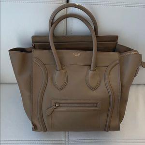 Beige Leather Celine Luggage Mini Shopper Handbag